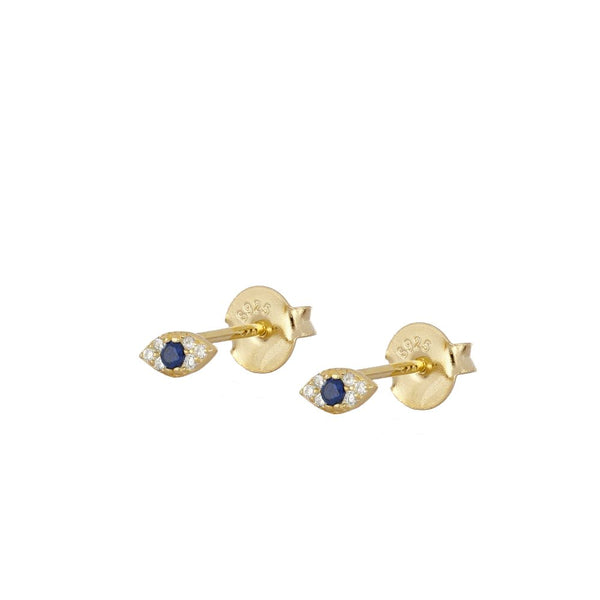 Mini pendientes pequeños de piercing con ojo de circonita confeccionados en plata de ley con baño de oro 18 kilates. gold plated silver evil eye zircon earrings for piercing
