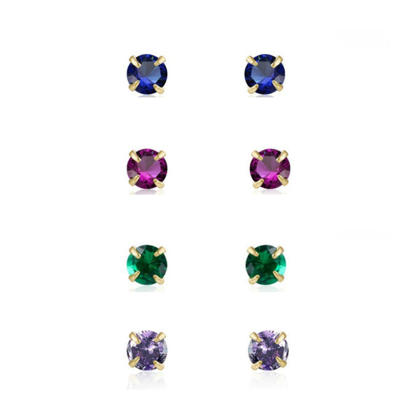 pequeños pendientes mini de brillantes con colores para piercing confeccionados en plata de ley con baño de oro 18 kilates. Gold plated sterling silver multi color tiny small earrings for piercing
