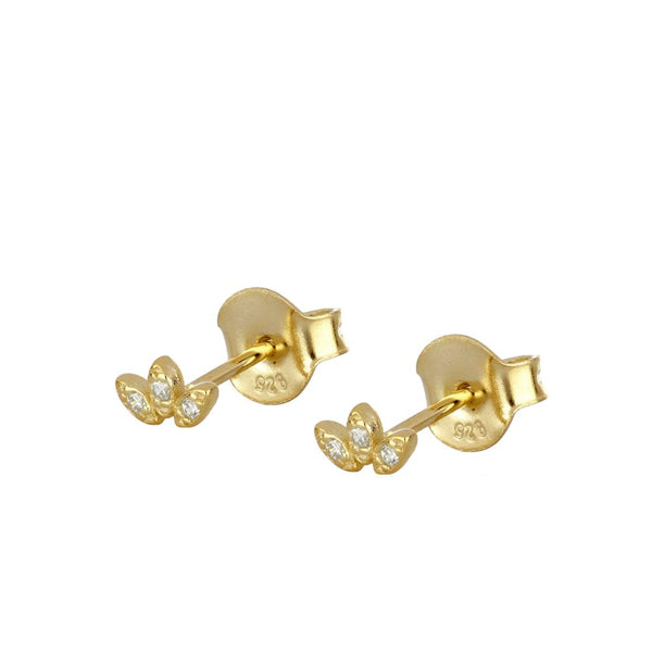 Mini pendientes pequeños de piercing con estrella y circonita confeccionados en plata de ley con baño de oro 18 kilates. Gold plated sterling silver piercing small earrings with zircon.