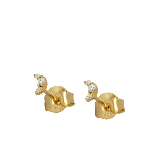 pendientes mini de luna anti alergicos para piercing confeccionados en plata de ley con baño de oro 18 kilates. Anti allergic Gold plated sterling silver moon earrings for piercing