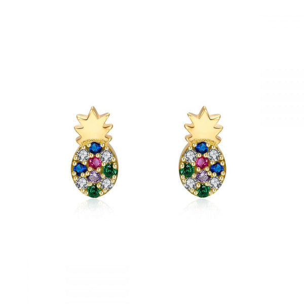 pequeños pendientes mini para piercing con forma de piña. Confeccionados en plata de ley con baño de oro 18 kilates y circonitas de colores azul, rosa y verde. Gold plated sterling silver small pineapple earrings for piercing
