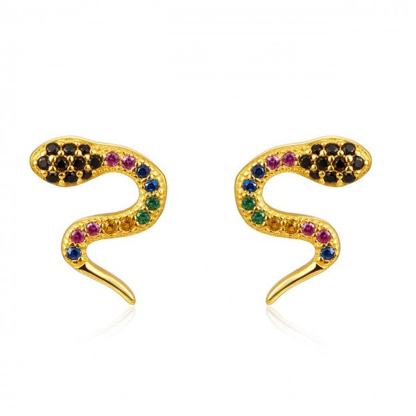 Pequeños pendientes para piercing de serpiente multicolor confeccionados en plata de ley con baño de oro 18 kilates. Small piercing snake earrings that are made of rainbow zircon and gold plated sterling silver.