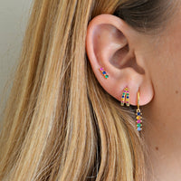 Pendientes Big Stick rainbow (plata y oro)