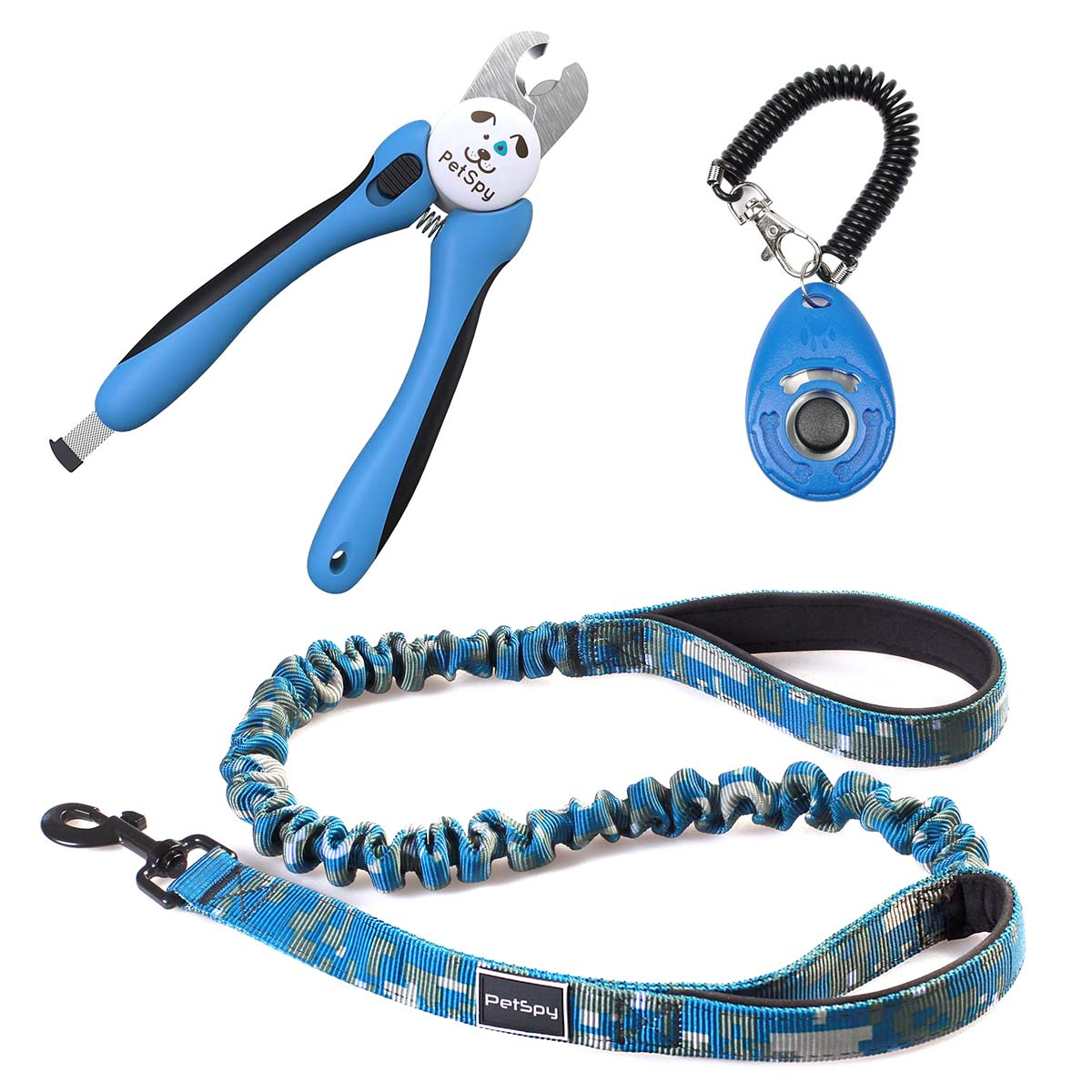PetSpy Train-Walk-Groom Bundle with Dog Clicker, Bungee Leash, and Nail Clipper