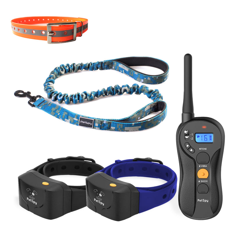 PetSpy Complete Dog Training Bundle: P620B Shock Collar for 2 Dogs, Bungee Leash, Reflective Collar