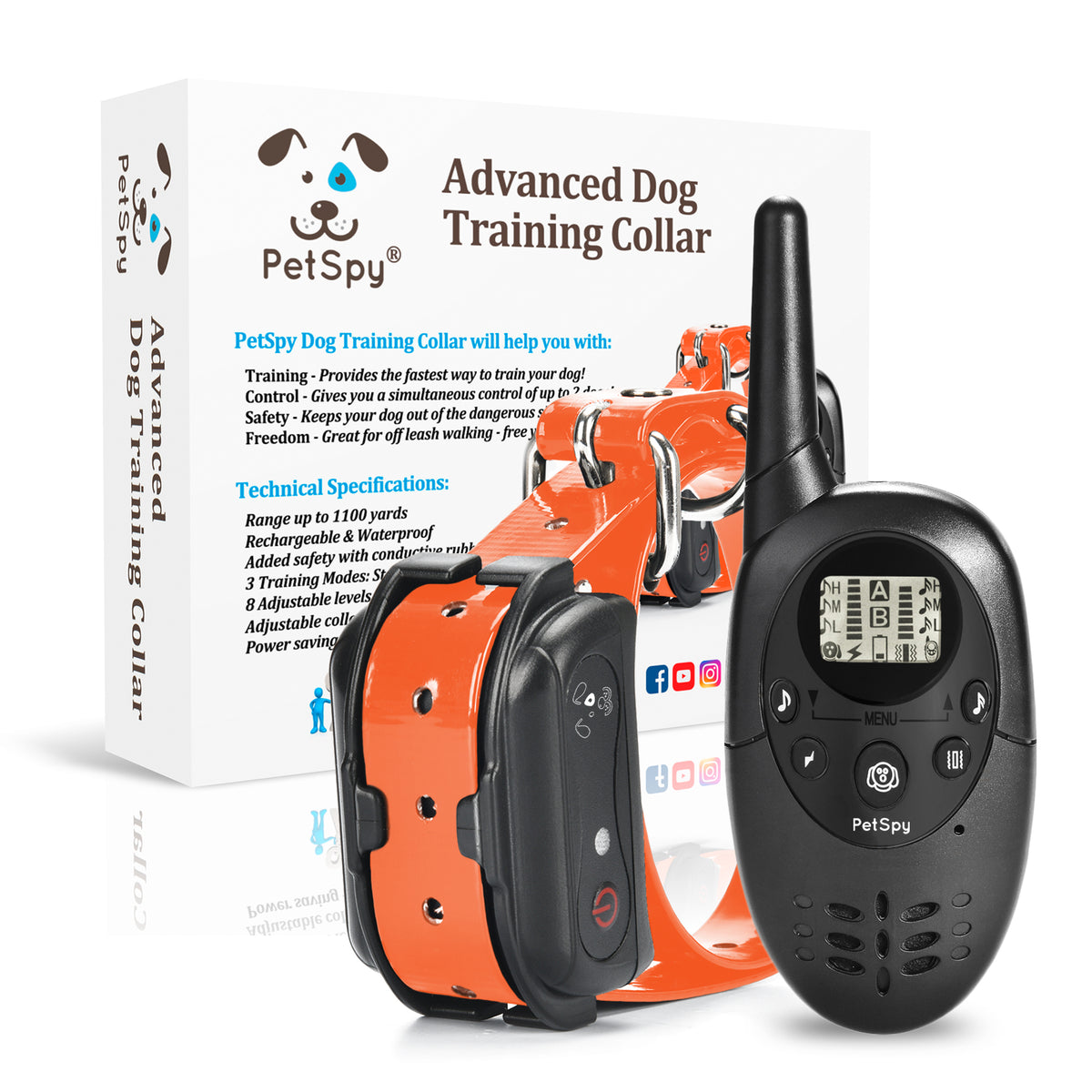 PetSpy M86N dog shock collar with package