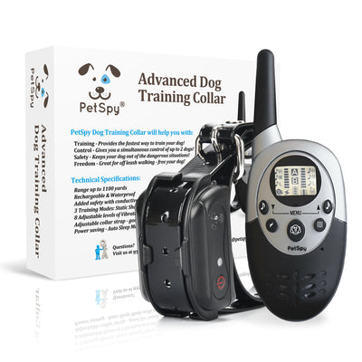 PetSpy M86-1 dog shock collar with box in the background