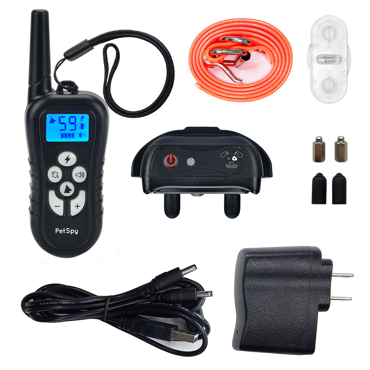 PetSpy M919-1 package contents: collar, remote, orange collar, charger, set of prongs, test light