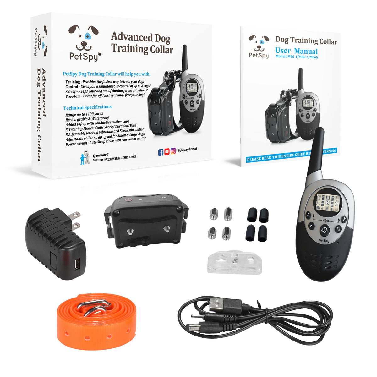 PetSpy M86-1 package: receiver, transmitter, orange collar, charger, two sets of prongs, manual