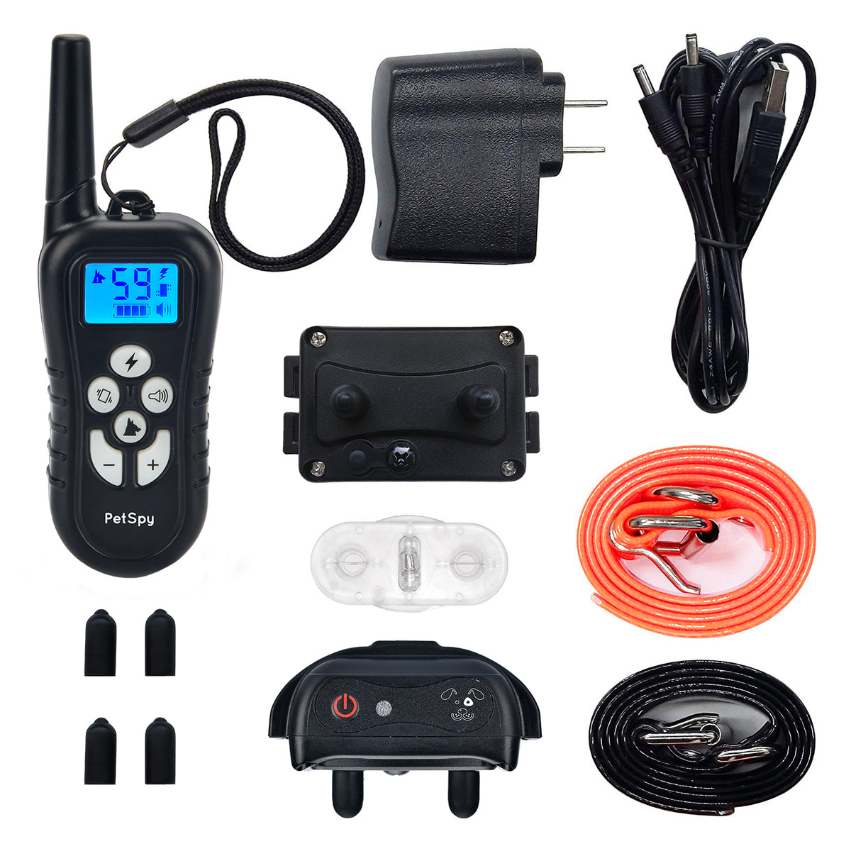 PetSpy M919-1 package contents: 2 receivers, remote, 2 collars, charger, set of prongs, test light
