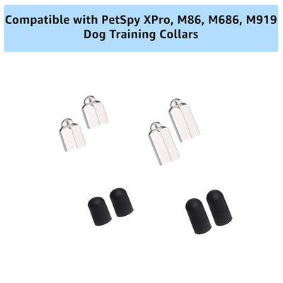 Extra metal contact point with conductive silicon caps for PetSpy dog training collars