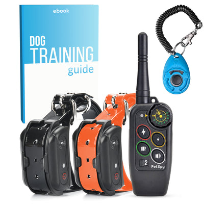 PetSpy Ultimate Dog Training Bundle - M686B Shock Collar for 2 Dogs, Clicker, Dog Training Ebook