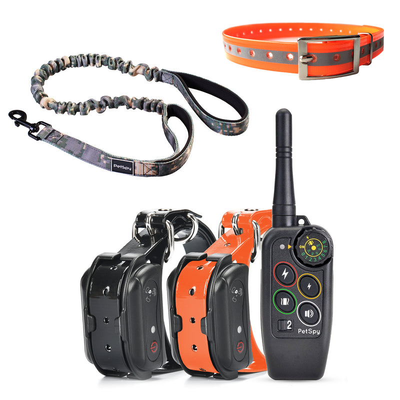 PetSpy Complete Dog Training Bundle, M686B Shock Collar for 2 Dogs, Bungee Leash, Reflective Collar