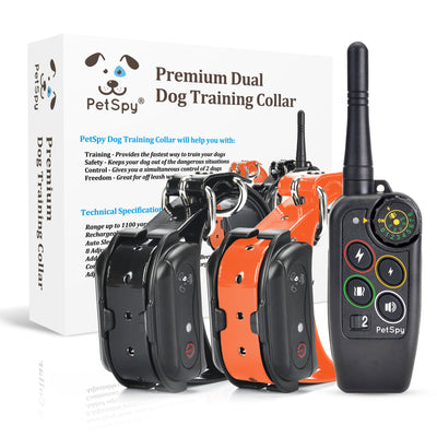 PetSpy M686B e-collars with box in the background