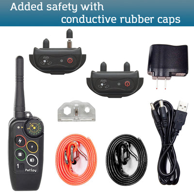 PetSpy M686И package: receivers, transmitter, collars, charger with USB cable, test light, manual.