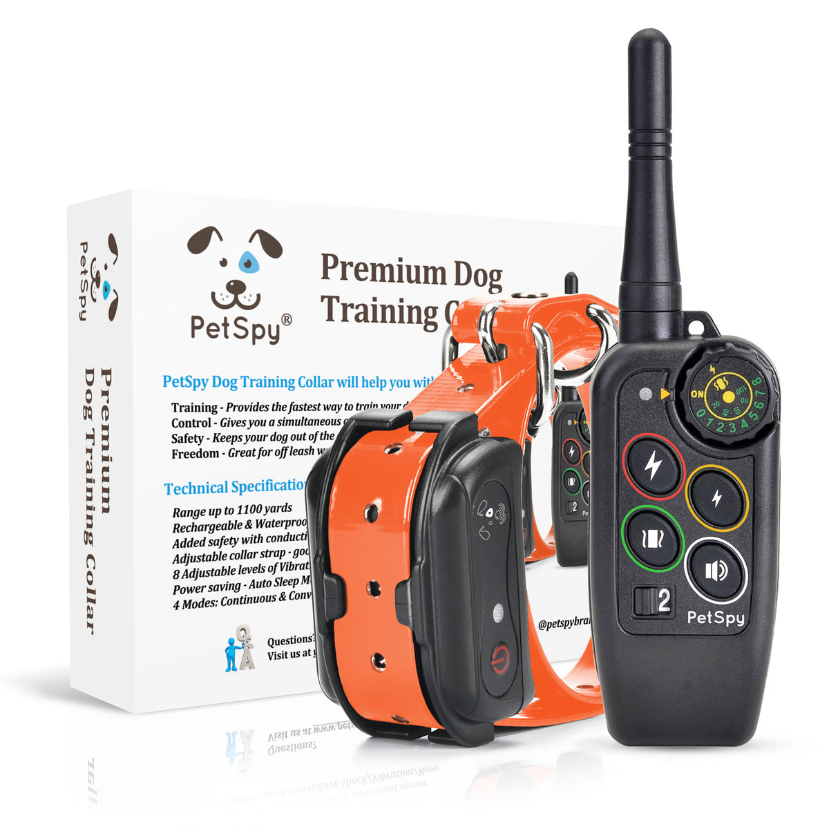 PetSpy M686 e-collar with box in the background