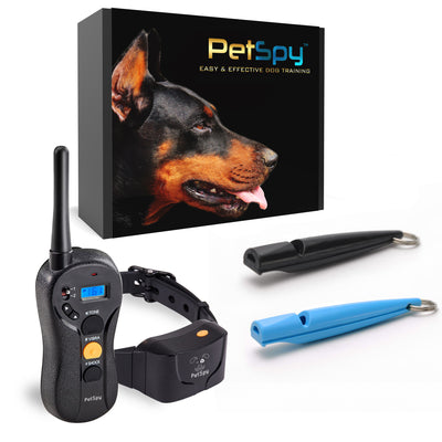 PetSpy P620 Dog Training Shock Collar and 2 Dog Whistles with Lanyard Bundle