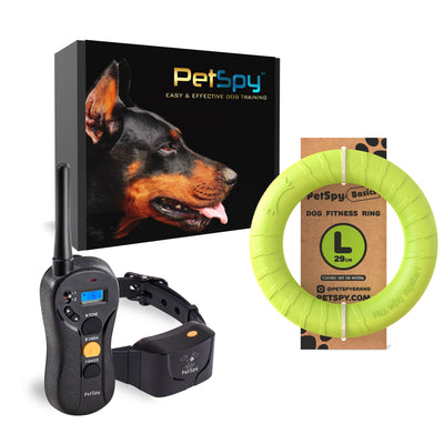 PetSpy P620 Dog Training Shock Collar and Dog Fitness Ring Bundle
