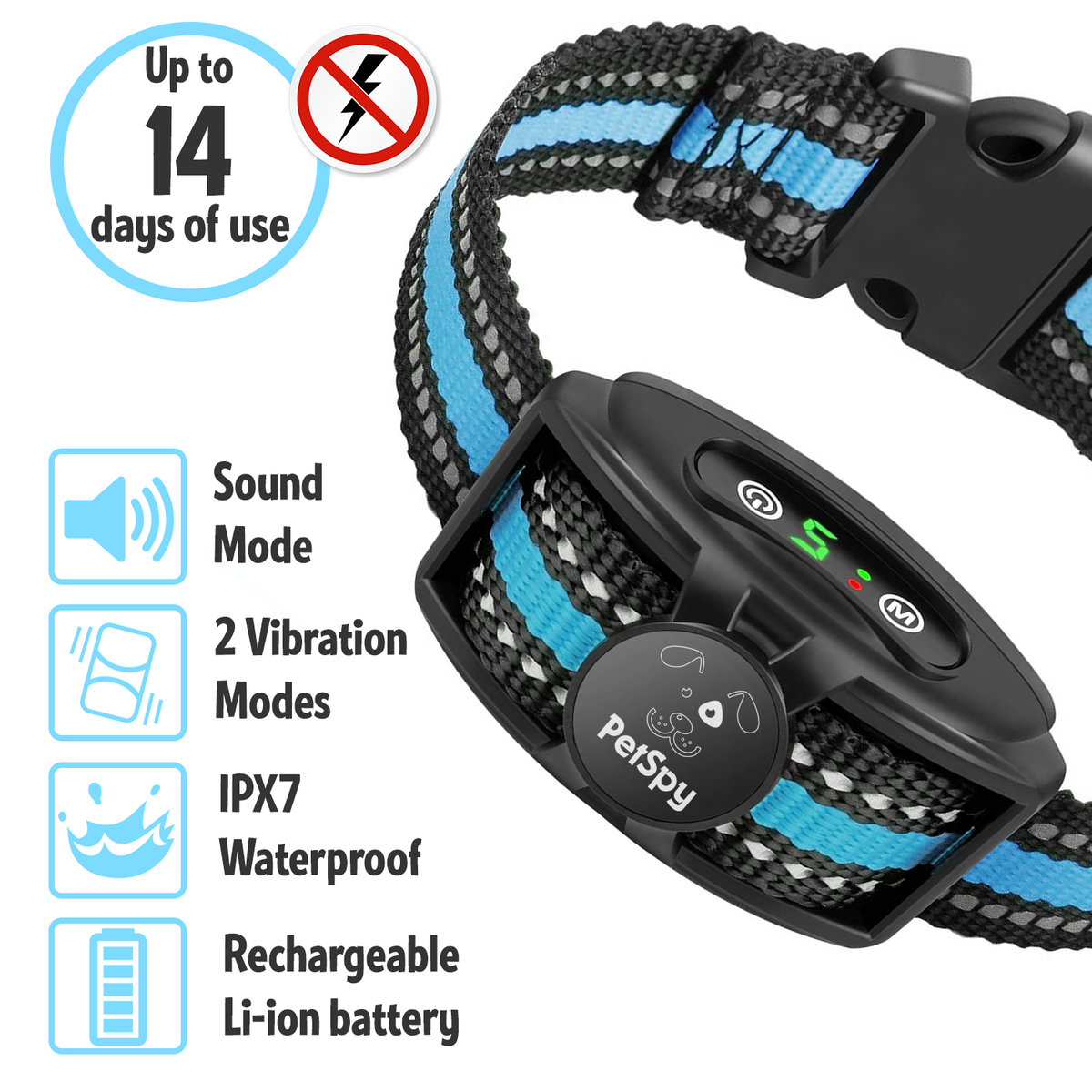 No Shock Dog Bark Collar, Dual Motor