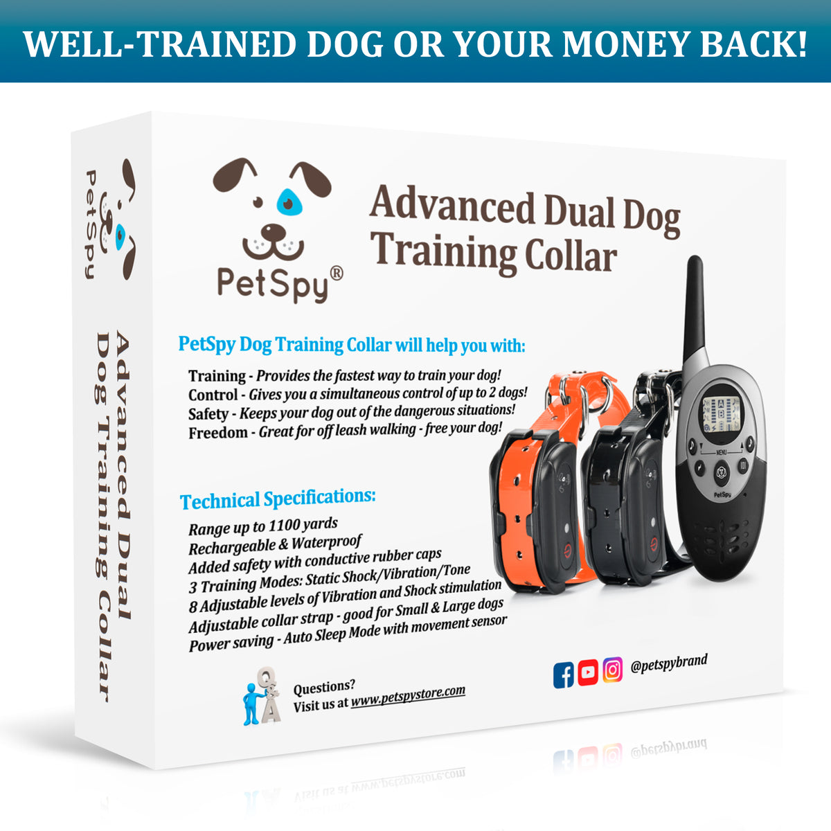 Well trained dog or your money back. PetSpy M86-2 dog shock collar