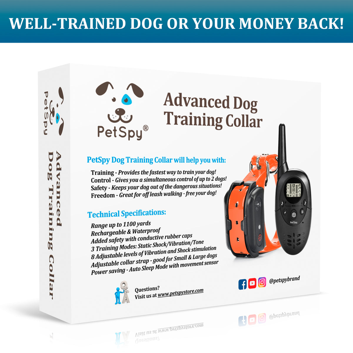 PetSpy M86N package. Well trained dog or your money back!