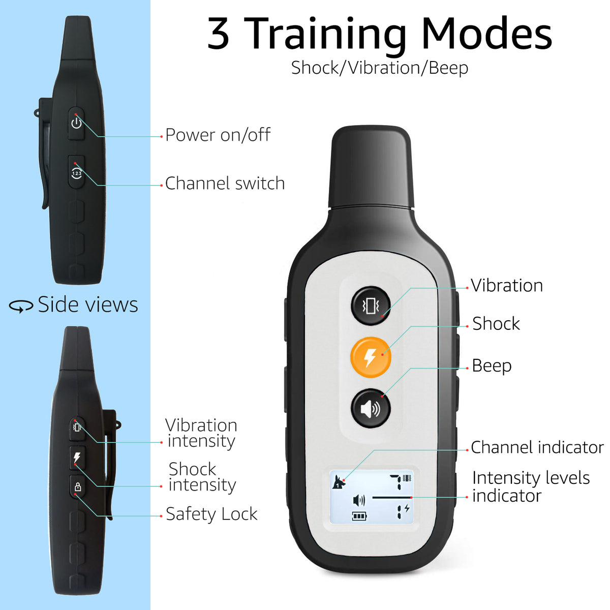 PetSpy Xpro X-Pro Dog training collar remote transmitter description three training modes