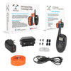 PetSpy M86N package: receiver, transmitter, orange collar, charger with USB cable, test light, manual.