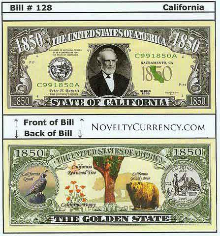 California - The Golden State - Commemorative Novelty Bill