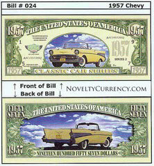 1957 Chevy Classic Car Novelty Currency Bill
