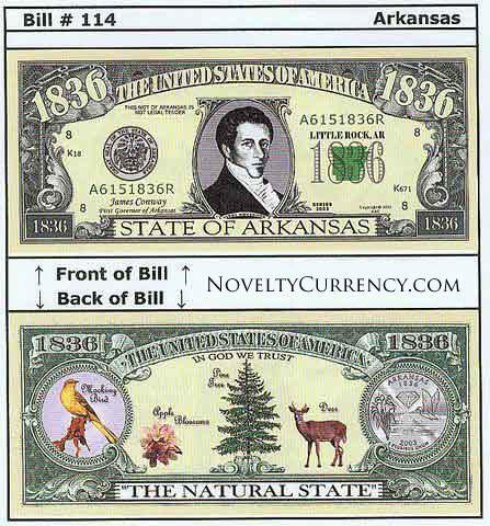 Arkansas - The Natural State - Commemorative Novelty Bill