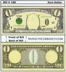Zero Dollar Novelty Currency Bill