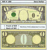 Image of Zero Dollar Novelty Currency Bill