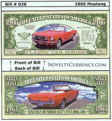 1965 Ford Mustang Classic Car Novelty Currency Bill