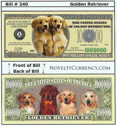 Golden Retriever Novelty Currency Bill