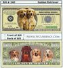 Image of Golden Retriever Novelty Currency Bill