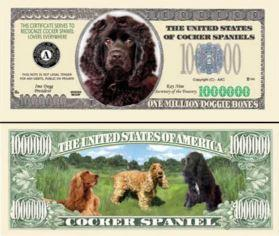 Cocker Spaniel Dog Novelty Currency Bill