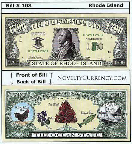 Rhode Island - The Ocean State - Commemorative Bill