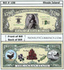 Image of Rhode Island - The Ocean State - Commemorative Bill