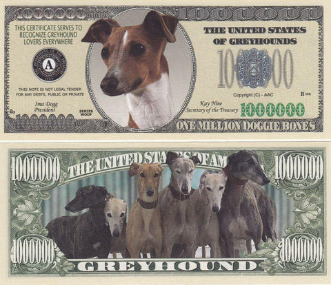 Greyhound Dog Novelty Currency Bill