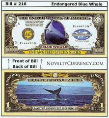 Blue Whale Endangered Species Novelty Currency Bill