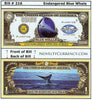 Image of Blue Whale Endangered Species Novelty Currency Bill