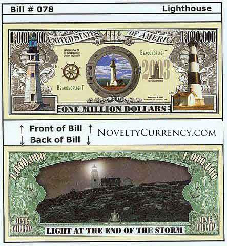 Lighthouse (Light at the End of the Storm) Novelty Currency Bill
