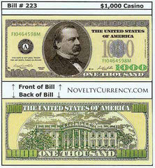 $1,000 Funny Money Novelty Currency Bill