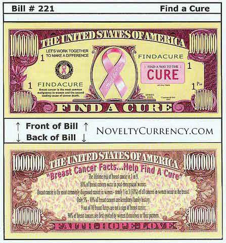 Find A Cure - Breast Cancer - Novelty Currency Bill