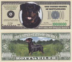 Rottweiler Dog Novelty Currency Bill