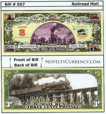 Railroad Mail Novelty Currency Bill