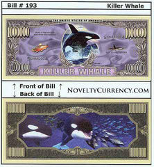 Killer Whale (Orca) Novelty Currency Bill