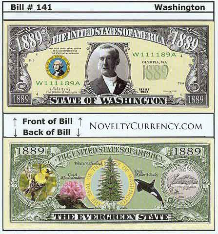 Washington - The Evergreen State - Commemorative Novelty Bill