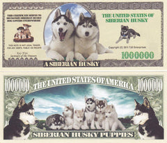 Siberian Husky Dog Novelty Currency Bill