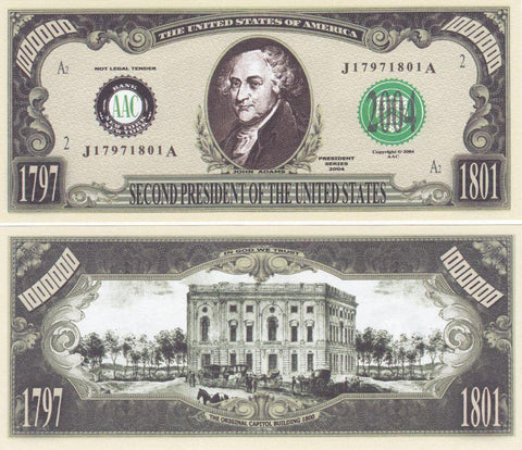 John Adams - 2nd President Novelty Currency Bill